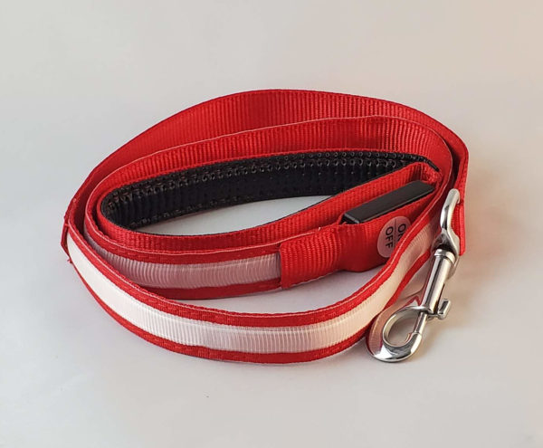 Red LED High Visibility Dog leash